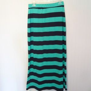 Turquoise and Navy Striped Maxi Skirt